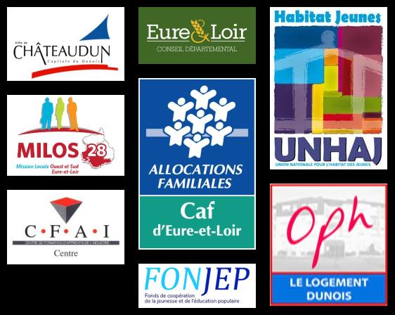 Nos partenaires : Ville de Châteaudun, Conseil départemental d'Eure-et-Loir, UNHAJ, MILOS 28, CAF d'Eure-et-Loir, CFAI Centre, FONJEP et OPH
